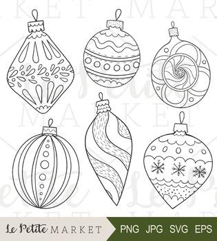 Christmas Ornament Vector.Hand Drawn Christmas Ornaments Clip Art Holiday Decor Clip Art Vector Png