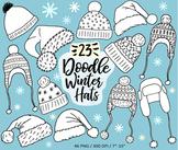 Hand Drawn Christmas, Winter, Santa Hat Clip Art Doodles -