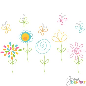 Clipart- Hand Drawn Clip Art Doodle Flowers