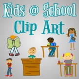 Hand Drawn Clip Art - Kids at School - For Use in Digital