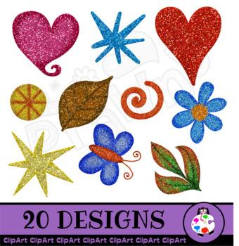 Hand Drawn Decorative Glitter Clip Art Objects