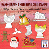 Hand-Drawn Christmas Digi Stamps - Set of 15 - Black and W