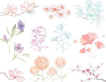 Hand Drawn Digital Flower Clip Art Sketchy Flower Clip Art