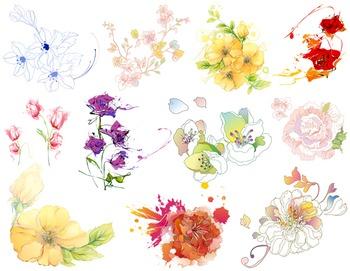 Hand Drawn Digital Flower Clip Art Watercolor Flower Clip Art