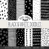 Hand Drawn Doodle Digital Papers & Backgrounds - 20 Black