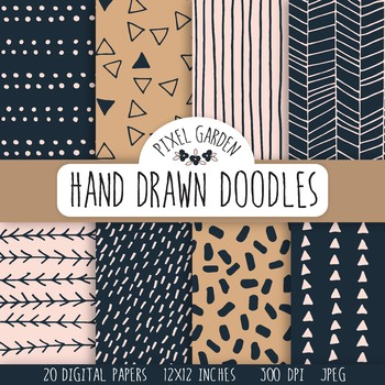 Hand Drawn Doodle Digital Papers & Backgrounds - 20 Images.