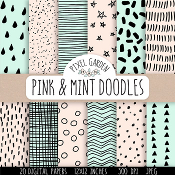 Hand Drawn Doodle Digital Papers & Backgrounds in Mint and Peach - 20 Images.