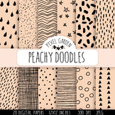 Hand Drawn Doodle Digital Papers & Backgrounds in Mint and