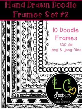 Hand Drawn Doodle Frames/Borders Set #2