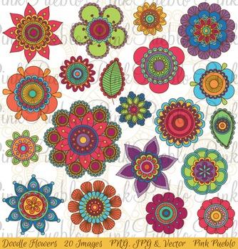 Hand Drawn Doodle Mandala Flowers Clipart Clip Art