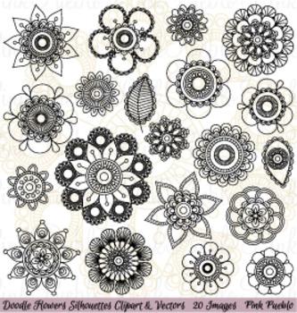 Hand Drawn Doodle Mandala Flowers Silhouettes Clipart Clip Art