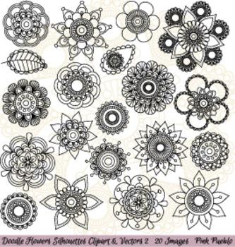 Hand Drawn Doodle Mandala Flowers Silhouettes Clipart Clip Art 2