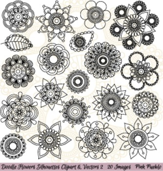 Hand Drawn Doodle Mandala Flowers Silhouettes Clipart Clip Art 2