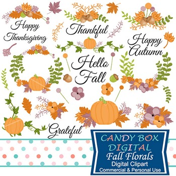 Hand Drawn Fall Floral and Autumn Laurel Clip Art - Commer