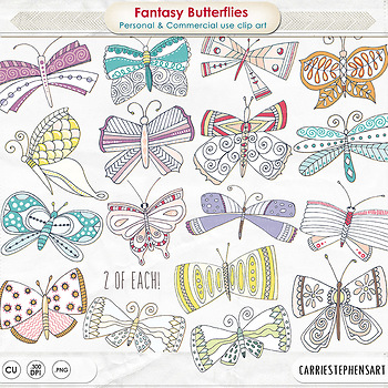 Hand Drawn Fantasy Butterflies Clip Art, Whimsical Butterfly Spring