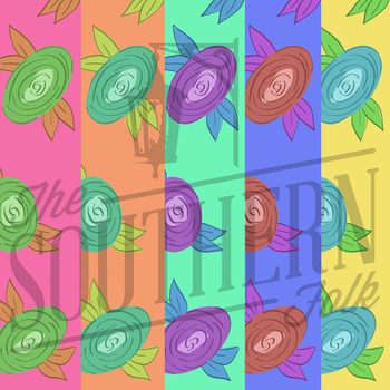 Hand Drawn Floral Digital Paper ( Pack of 5 )