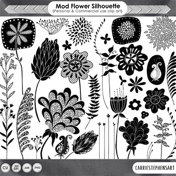 Hand Drawn Flower Silhouette, Foliage Doodles, Decorative Floral Clip Art