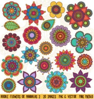 Hand Drawn Flowers Clipart Clip Art 2, Doodle Mandala Clip Art Clipart Vectors