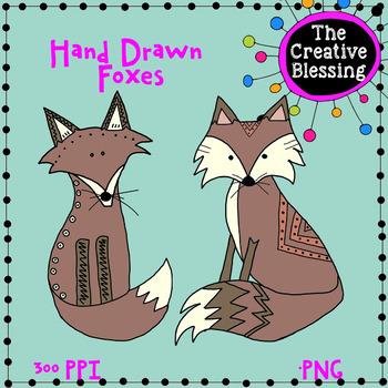 Hand Drawn Fox Clip Art PNG Graphics