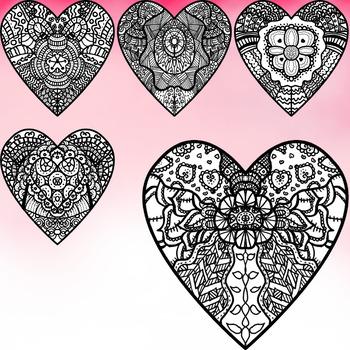 Hand Drawn Hearts Clip Art