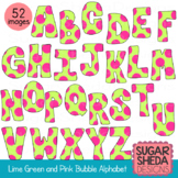 Hand Drawn Lime Green and Pink Bubble Alphabet Clipart