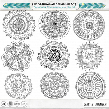 Hand Drawn Mandala, Circle Medallion ClipArt, Black Line Art + Silhouette