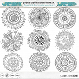 Hand Drawn Mandala, Circle Medallion ClipArt, Black Line Art, Coloring