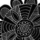 Hand Drawn Mandala, Circle Medallion ClipArt, Black Line A