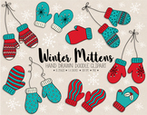 Hand Drawn Mittens Clipart. Nordic Doodle Winter Clothing Clip Art.