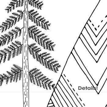 Hand Drawn Mountain Clip Art - Pine Trees, Clouds, Nature - Digital Stamps