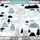 Zen Mountain Clip Art, Nature Graphics, Trees Clouds Line Art, Growth Mindset!