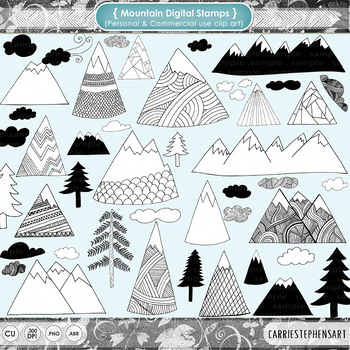 Hand Drawn Mountain Clip Art - Pine Trees, Clouds, Nature