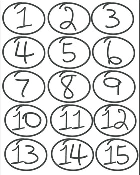 Hand-Drawn Number Icons (Numbers 1-15)