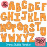 Hand Drawn Orange Bubble Alphabet Clipart Graphics