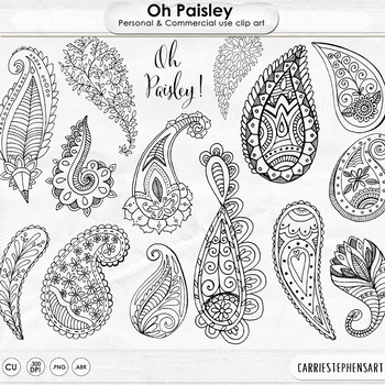 Hand Drawn Paisley Black Line Art + Silhouette, Decorative ClipArt Illustrations