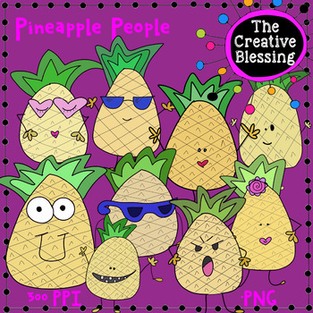 Hand Drawn Pineapple People Clip Art (The Creative Blessing)