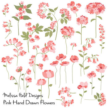 Clipart: Hand Drawn Pink Flowers Clip Art