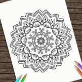 Hand Drawn Printable Coloring Page Kids Mandala Strength C