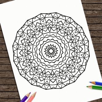 Hand Drawn Printable Coloring Page Kids Mandala Strength Colouring Book Adult