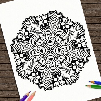 Hand Drawn Printable Coloring Page Kids Mandala Strength Colouring Book Adult