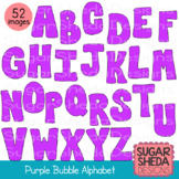 Hand Drawn Purple Bubble Alphabet Letters Clipart