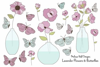 Clipart:  Hand Drawn Purple Flowers and Vases Clip Art