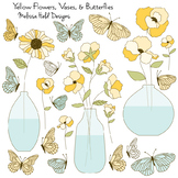 Yellow Flowers, Vases and Butterflies Clipart