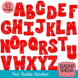 Hand Drawn Red Bubble Alphabet Graphic Clipart