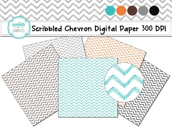 "Kid Hand Drawn Scribble Chevron Digital Paper 12"" x 12"" jpg 300 dpi Graphics"