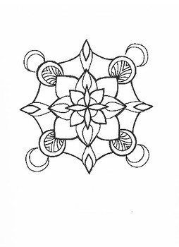 Hand-Drawn Set of SIX MANDALA Coloring Pages for School/Relaxation