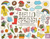 Hand Drawn Spring Clip Art. Rainbow, Rain Boots, Clouds, Weather Illustrations.
