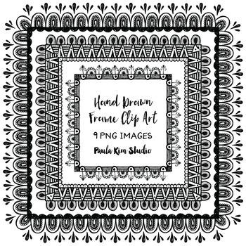 Hand Drawn Square Frame Clipart by Paula Kim Studio   TpT