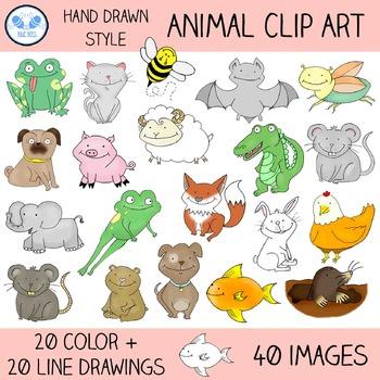 Cute Animal Clip Art - Color & Outline