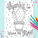 """Hand-Drawn """"Thanks For Helping Me Grow"""" Coloring Page"""